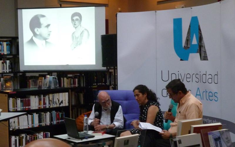 Luis Felipe Noé, Natalia Revelo y Xavier Patiño en UArtes. Foto LaRepublica.ec