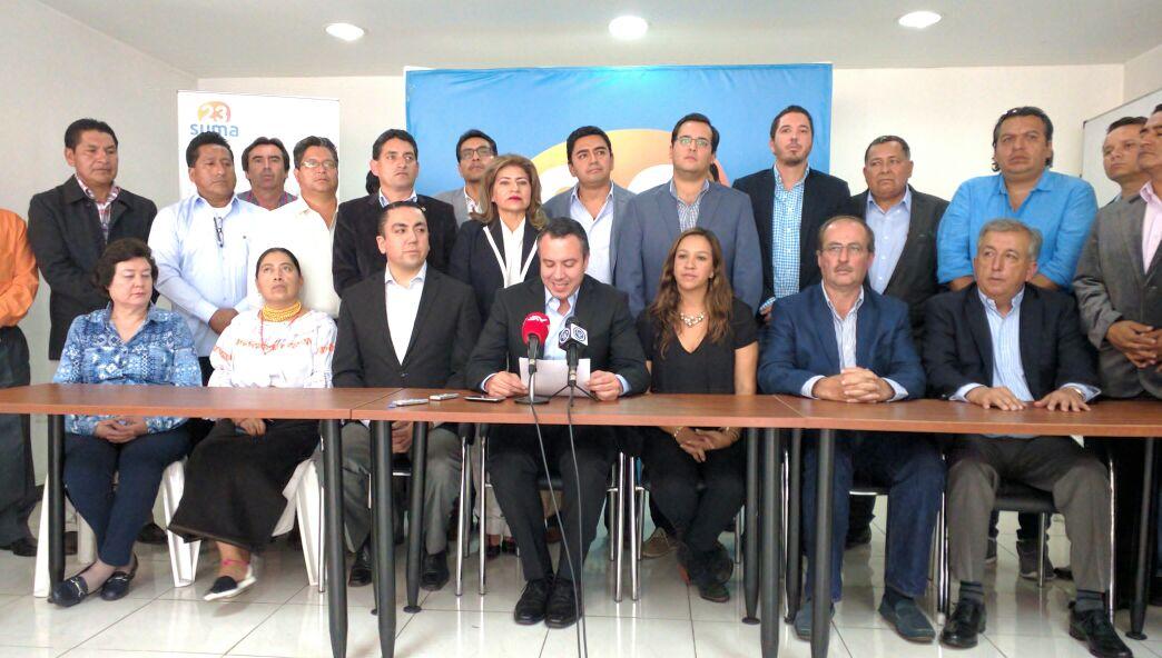 El director nacional de SUMA, Guillermo Celi, el 17 de octubre de 2016, tras anunciar el apoyo a la candidatura de Guillermo Lasso.