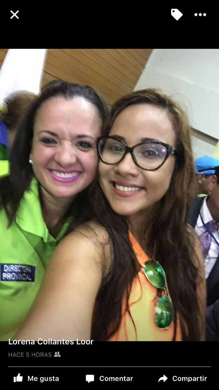 La jueza Collantes y Marcela Aguiñaga.