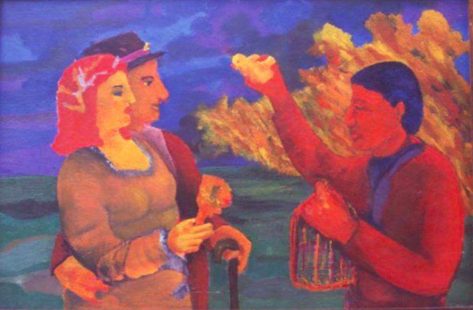 Pablo Barriga. De la serie Los inicios. Vendedor callejero. Óleo sobre madera 50 X 80 CM. 1975.