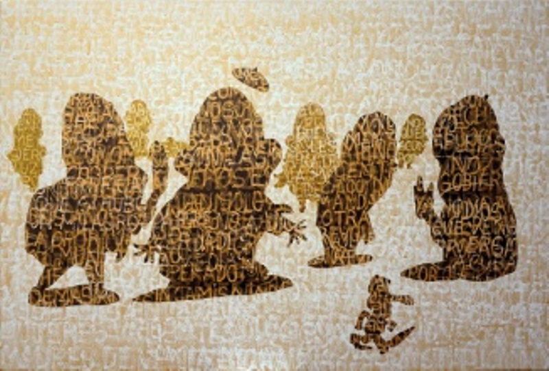 Dánae teje el tiempo dorado por el Nilo Acrílico / tela 100 x 150 cm. 2016