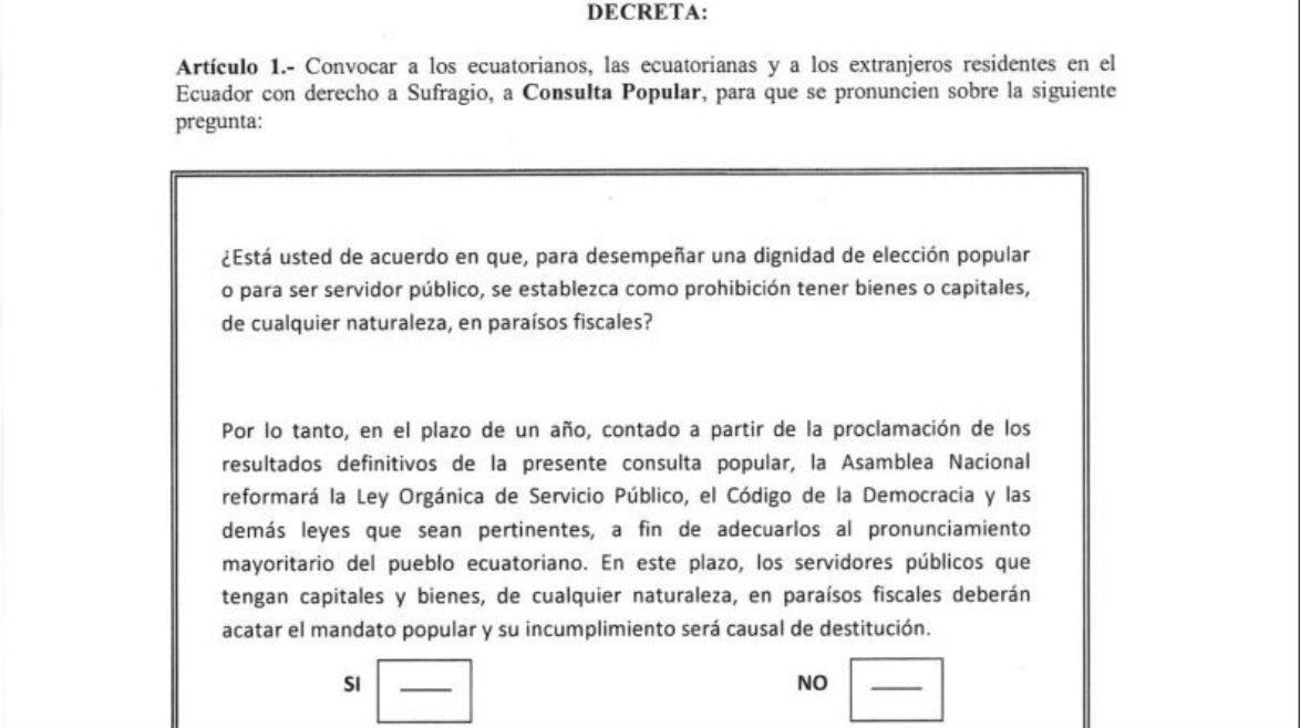 La consulta popular de paraísos fiscales se hará el 19 de febrero del 2017, cuando los ecuatorianos elegirán presidente, vicepresidente, asambleístas y parlamentarios andinos.