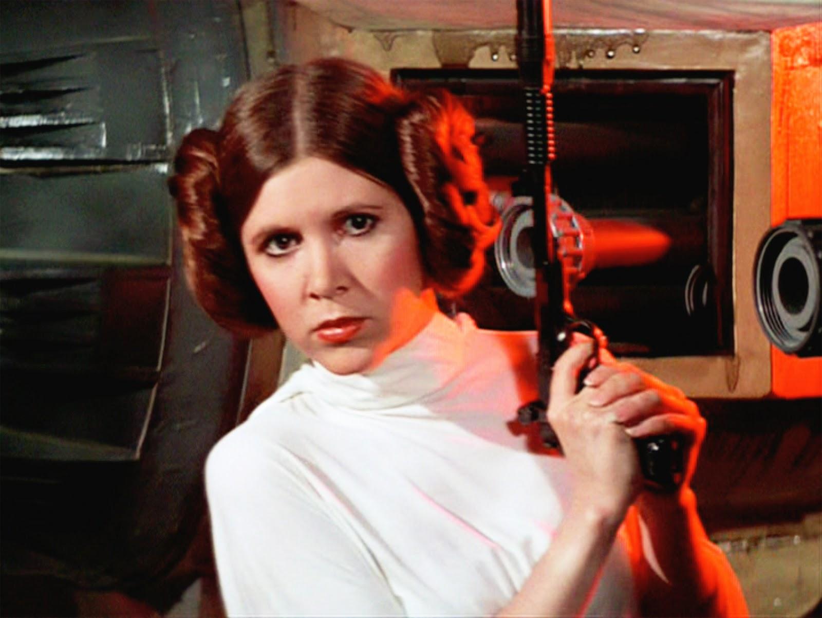 Carrie Fisher, interpretando a la Princesa Leia, en la Guerra de las Galaxias.