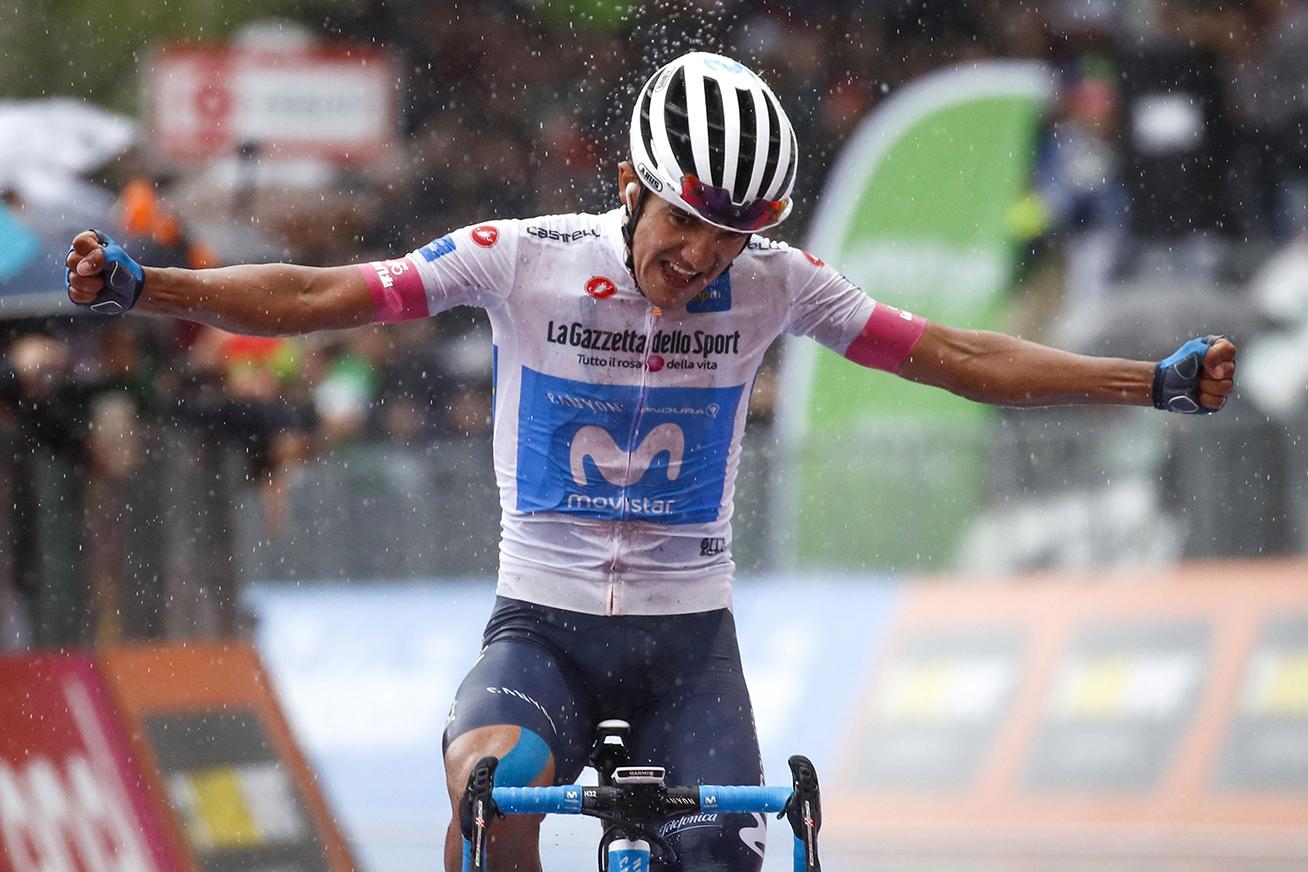 Ecuador's Richard Carapaz celebrates as he crosses the finish line