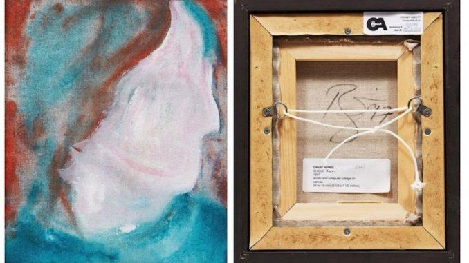 """Composición de dos fotografías cedidas este viernes por la casa de subastas canadiense Cowley Abbot donde se muestra el anverso y reverso de la obra """"DHead XLVI"""" pintada en 1997 por el músico británico David Bowie"""